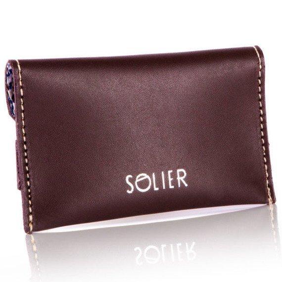 Skórzany cienki portfel wizytownik Solier SW19 ciemny brązowy vintage