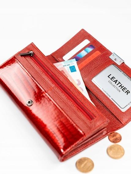 Skórzany lakierowany portfel damski czarny Lorenti D77