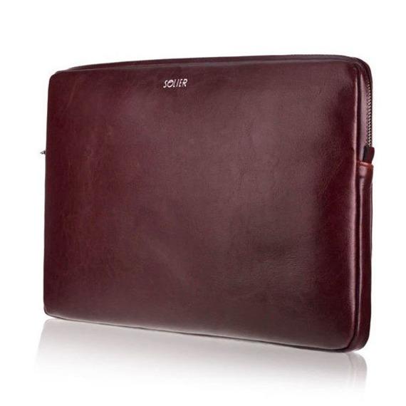 Skórzany pokrowiec etui na laptopa 13 cali Solier SA23 burgundowy