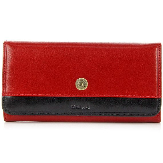 Skórzany portfel damski KRENIG Scarlet 13026 czerwony w pudełku