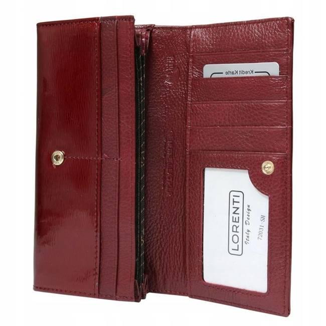 Skórzany portfel damski Lorenti czerwony 72031-SH NAPIS RED