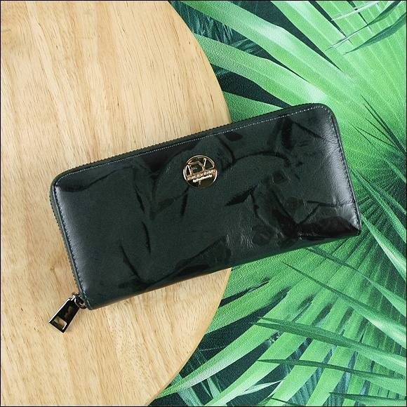 Skórzany portfel damski czarno - zielony Forever Young 77006