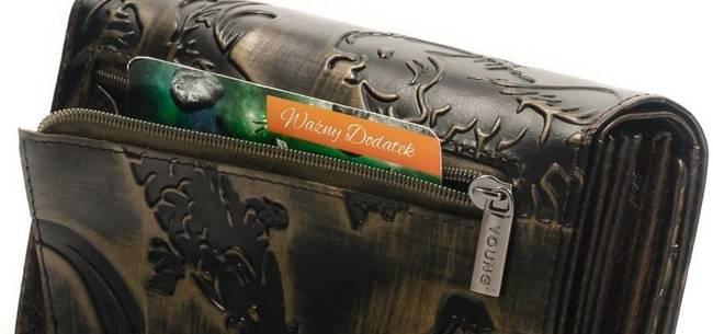 Skórzany portfel damski czarno - złoty Forever Young 76112