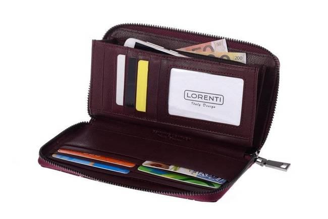Skórzany portfel damski czerwony Lorenti 76119