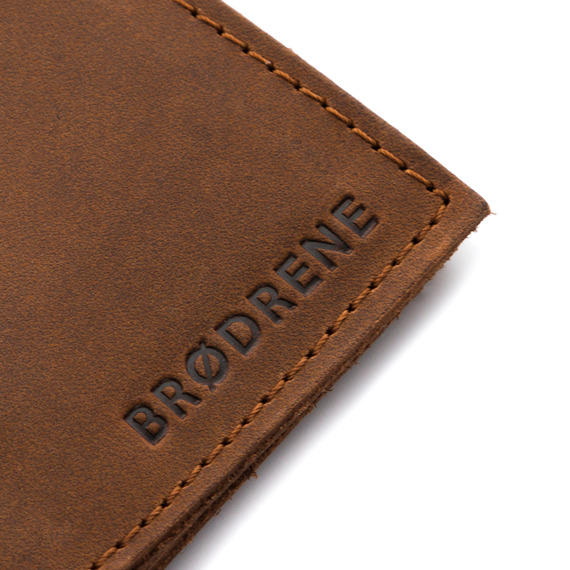 Skórzany portfel damski etui na telefon i karty Brodrene SW09 j.brązowy
