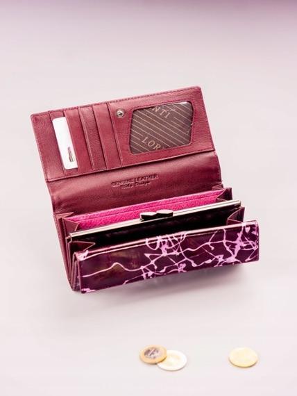 Skórzany portfel damski fioletowy Lorenti 64003