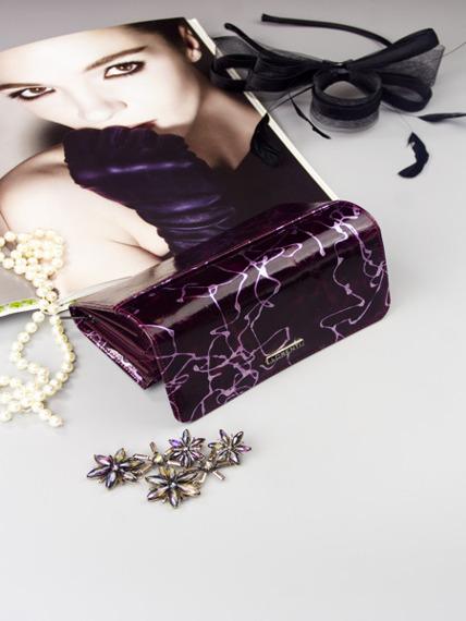 Skórzany portfel damski fioletowy Lorenti 76110