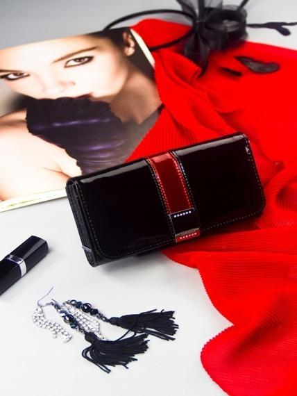 Skórzany portfel damski lakierowany czarny Lorenti 76110