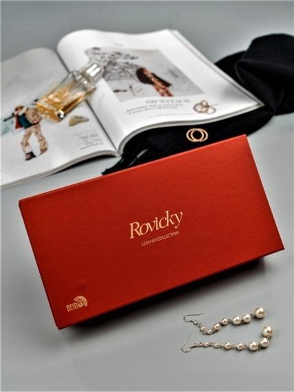 Skórzany portfel damski lakierowany niebieski RFID Rovicky 8807