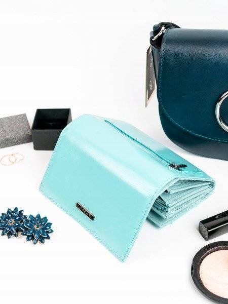 Skórzany portfel damski turkusowy Lorenti 76112