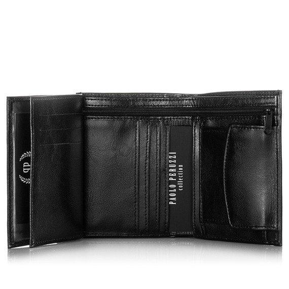Skórzany portfel męski PAOLO PERUZZI GA172 brązowy