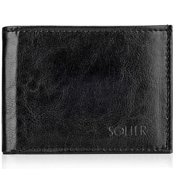 Skórzany portfel męski SOLIER SW06 czarny