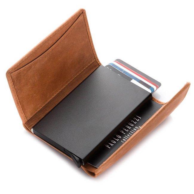 Skórzany portfel męski koniakowy RFID Paolo Peruzzi IN-10-CG