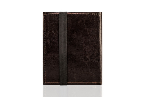Skórzany portfel męski na paszport SOLIER SW07 ciemnobrązowy