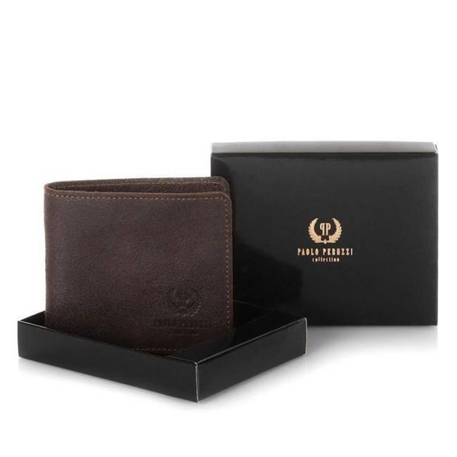 Skórzany portfel męski slim Paolo Peruzzi vintage 003-BR c.brązowy