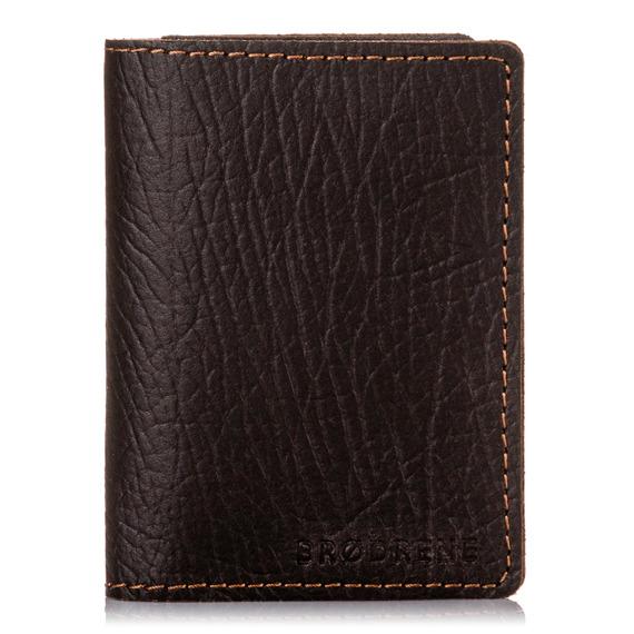 Skórzany portfel slim wallet Brodrene SW08 Cortez ciemny brąz
