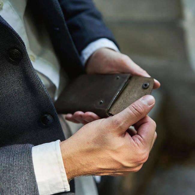 Skórzany stylowy portfel męski Brødrene W02 c.brąz