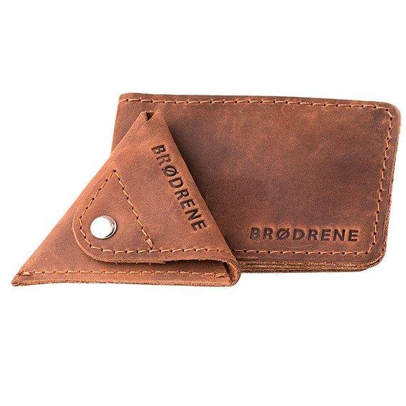 Skórzany zestaw portfel i bilonówka BRODRENE SW02 + CW01 jasnobrązowy