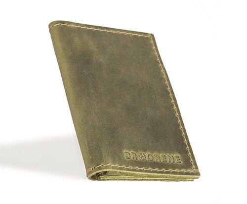 Skórzany zestaw portfel i bilonówka BRODRENE SW03 + CW02 zielony