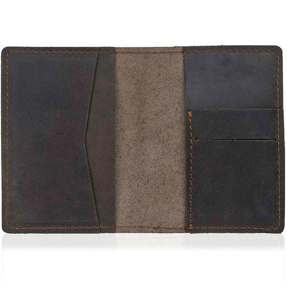 Skórzany zestaw portfel i bilonówka BRODRENE SW05 + CW01 ciemnobrązowy