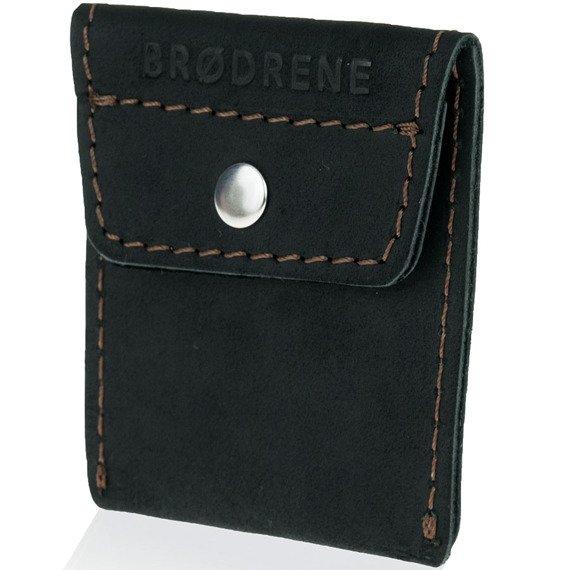 Skórzany zestaw portfel i bilonówka BRODRENE SW06 + CW02 czarny