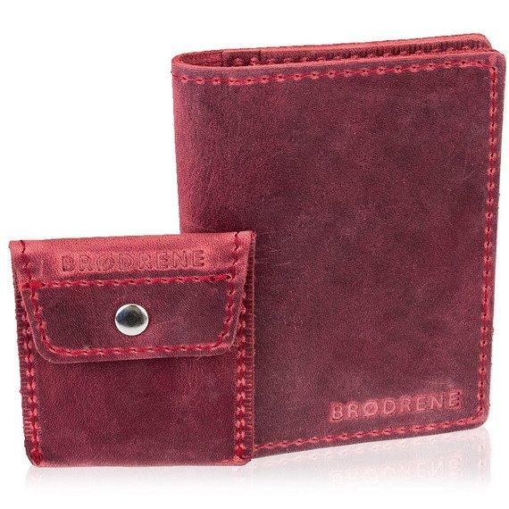 Skórzany zestaw portfel i bilonówka BRODRENE SW07 + CW02 czerwony