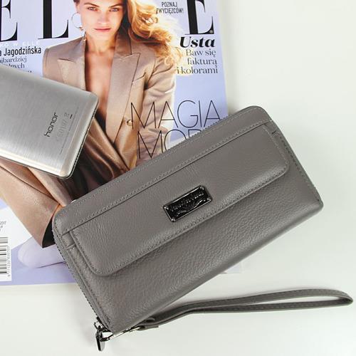 Skórzany portfel damski kopertówka szary JENNIFER JONES GA112