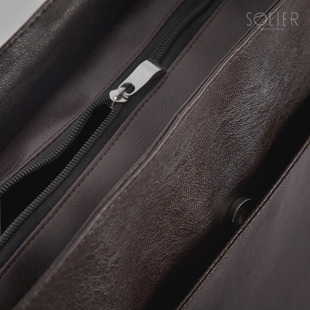 Torba męska na ramię listonoszka Solier S11 brązowa