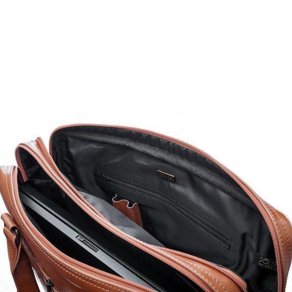 Torba skórzana na ramię, laptopa SOLIER brązowy vintage