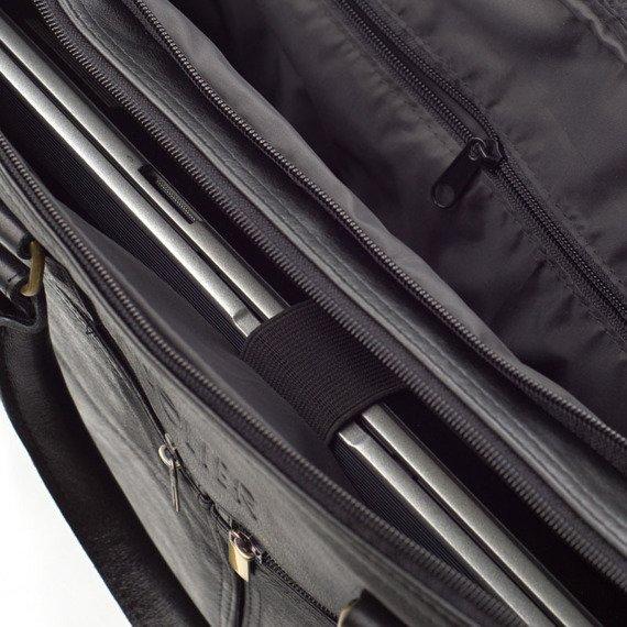 Torba skórzana na ramię, laptopa SOLIER czarna