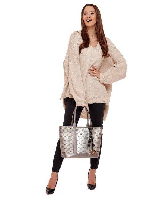 Torebka ażurowa shopper A4 Monnari srebrna 2040