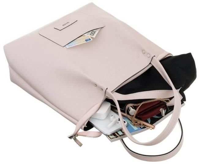 Torebka shopper bag 2w1 duża A4 Rovicky różowa 1329