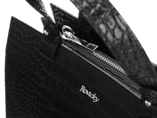 Torebka skórzana krokodyl czarna Rovicky twr-132