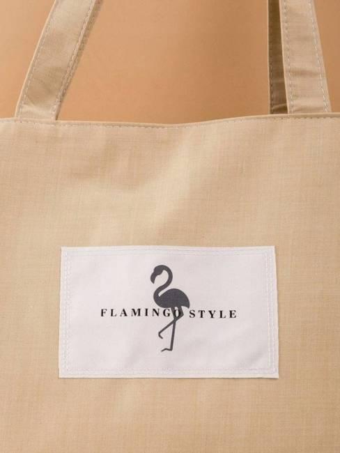 Tote bag z tkaniny płóciennej beżowa - street fashion