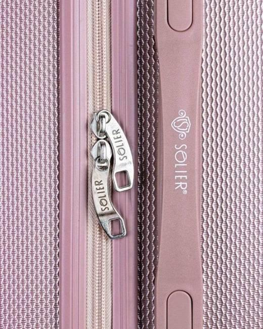 Walizka różowa mała SOLIER ABS STL946 PINK S