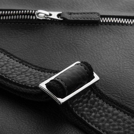 Włoska skórzana torba teczka męska PAOLO PERUZZI czarna