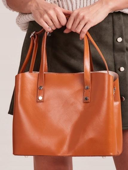 Włoska skórzana torebka shopper bag camel Rovicky TWR-61