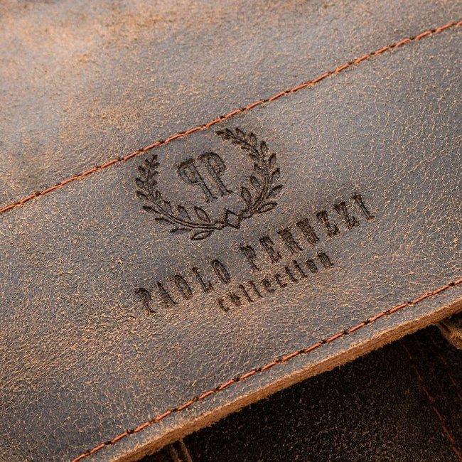 Włoska teczka skórzana vintage jasnobrązowa Paolo Peruzzi 045TM