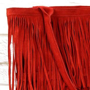 Włoska torebka skórzana z frędzlami czerwona MADE IN ITALY Spalla 228