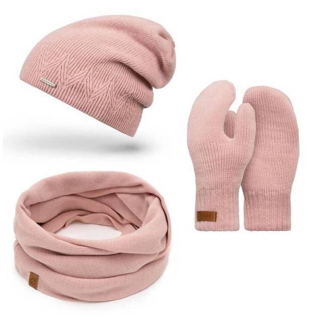 Zestaw czapka komin rękawiczki różowy Brødrene ZES3ROSE